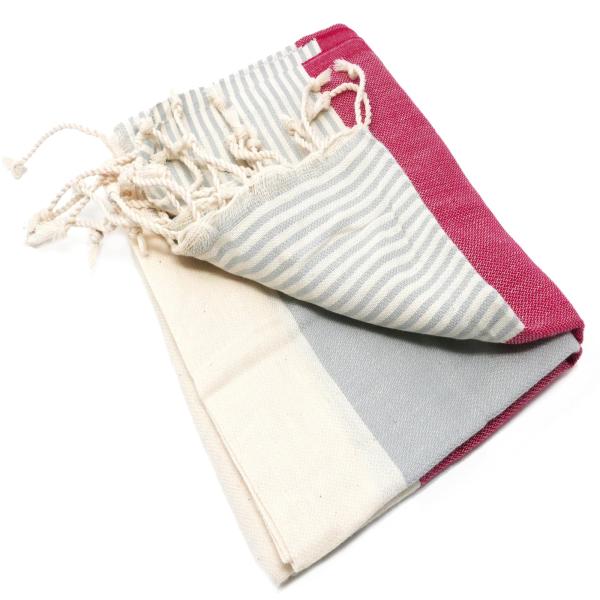 Hamam-Badetuch-Appolonia-rot-grau