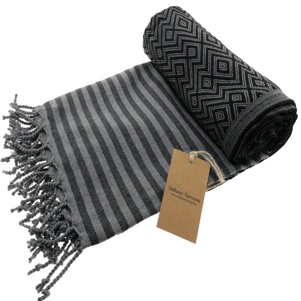 Serviette de bain Hamam Kelim Lux noir