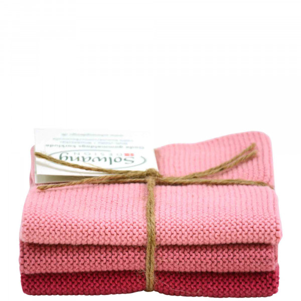 Lot de 3 lingettes, combi rose antique