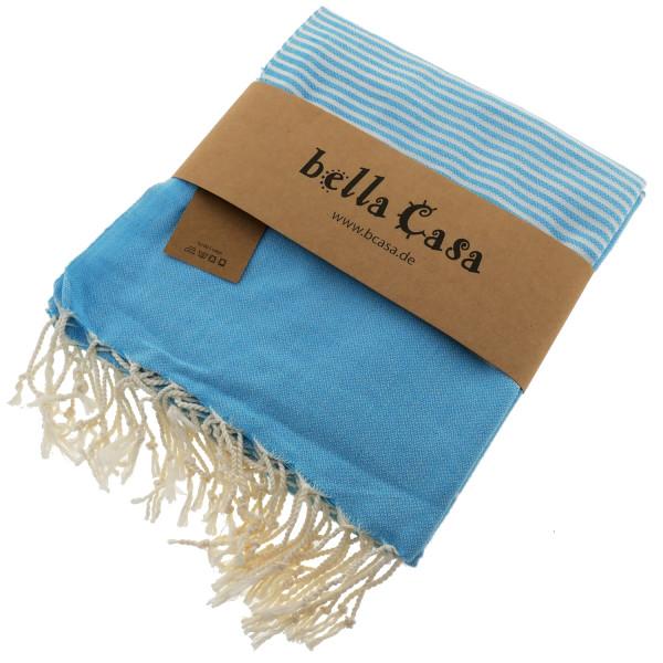 Serviette de bain Hamam HERIKE bleu d'été